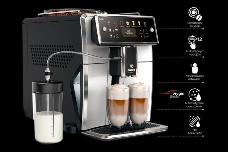 Saeco Xelsis SM7581/00 - zautomatyzowany ekspres ciśnieniowy posiadający 12 programów parzenia kawy i 6 profili użytkownika oraz wyposażony w ceramiczny młynek i filtr wykonany w technologii AquaClean