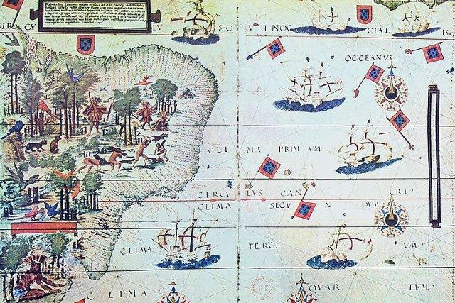 Portugalskie statki u wybrzeży Brazylii