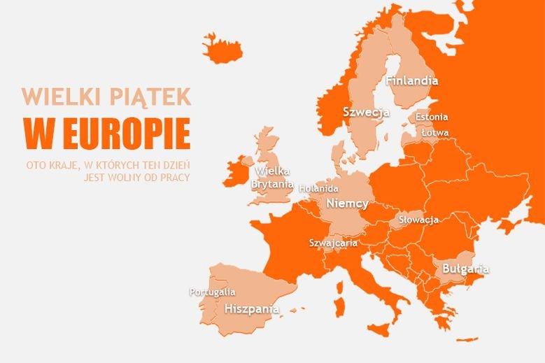 W wielu krajach Europy Wielki PIątek jest dniem wolnym od pracy.