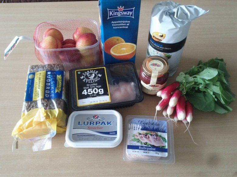 Zdjęcie produktów, które można kupić za godzinę pracy w Danii
