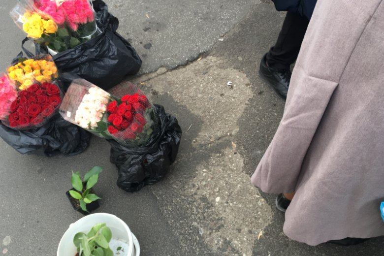 Danusia sprzedaje żywe kwiaty.