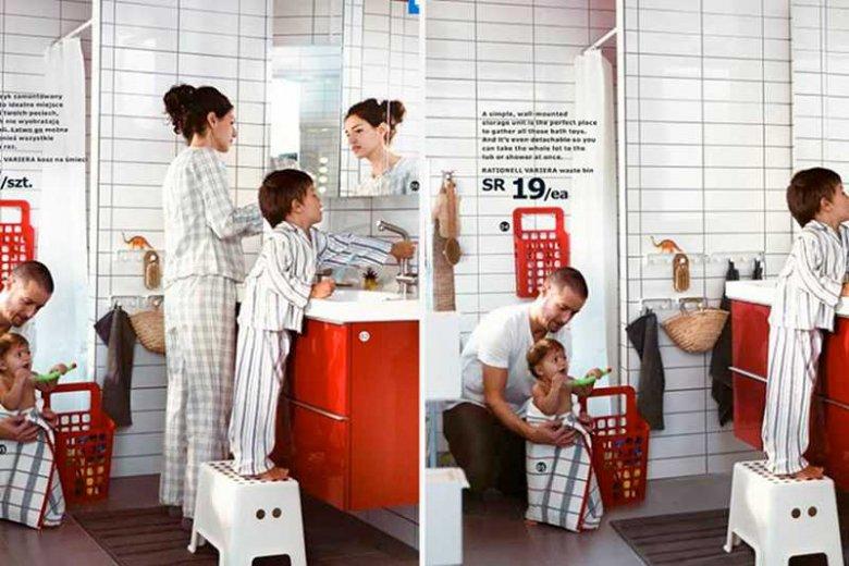 Po lewej – katalog IKEA bez cenzury, po prawej – z już wyciętą kobietą