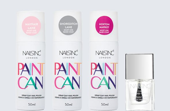 Różne warianty kolorystyczne lakierów Nails Inc w spray'u.