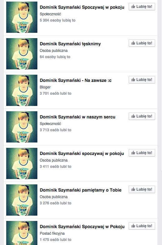 To tylko część profili poświęconych Dominikowi.