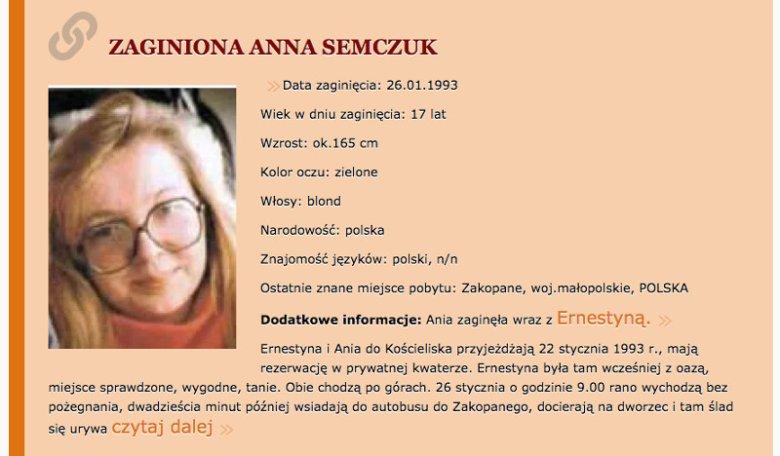 Zaginiona Anna Semczuk, koleżanka Ernestyny. Screen ze strony zaginieni.org.uk