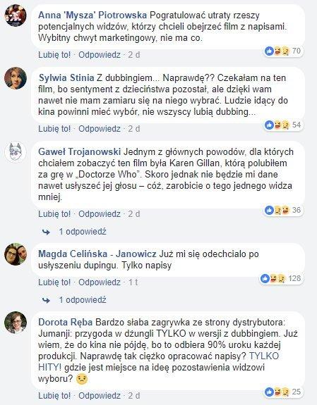 """Komentarze z grudnia pod trailerem """"Jumanji: Przygoda w dżungli"""""""
