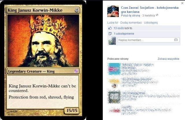 """Karcianka """"Czas zaorać socjalizm"""" z Januszem Korwin-Mikkem w roli króla."""
