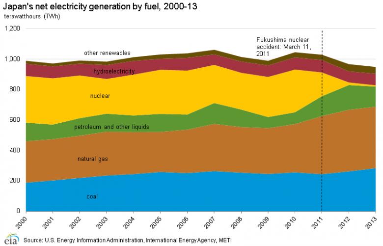 Struktura wytwarzania energii elektrycznej w Japonii