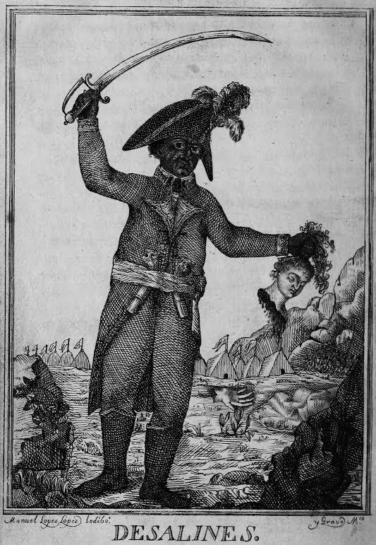 Rycina z 1806 roku przedstawiająca Jeana-Jacquesa Dessalinesa (przywódcę antyfrancuskiego powstania na Haiti) w czasie masakry białych.