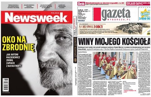 Okładka Newsweeka i Gazety Wyborczej
