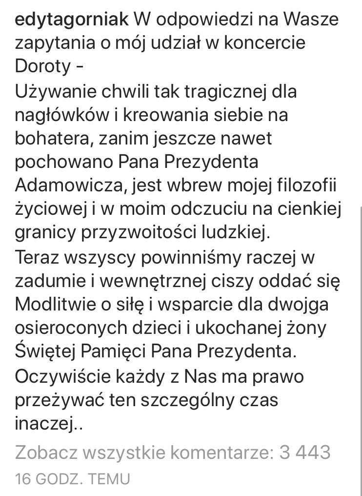 Screen oświadczenia Edyty Górniak