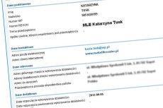 Wpis dotyczący firmy Kasi Tusk z ewidencji działalności gospodarczej.