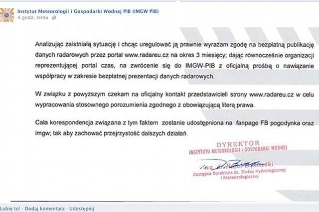 IMGW tymczasowo pozwolił serwisowi Radareu.cz na wykorzystywanie swoich danych radarowych