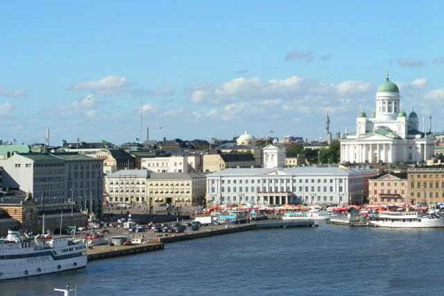 Widok na centrum Helsinek, stolicy Finlandii.