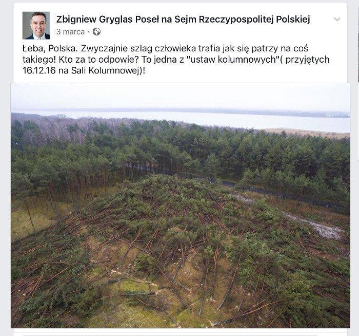 Poseł Zbigniew Gryglas krytykuje lex Szyszko.
