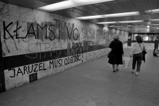 Czerwiec 89', dziś już nieistniejące przejście podziemne pod ul. Krakowskie Przedmieście przy Uniwersytecie Warszawskim.