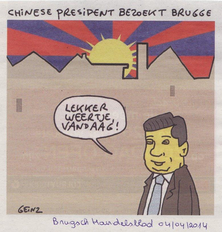 """Rysunek z brugijskiej gazety Brugsch Handelsblad, 4 kwietnia 2014 r. napis brzmi: """"Chiński Prezydent odwiedza Brugię. Ładna dziś pogoda""""."""