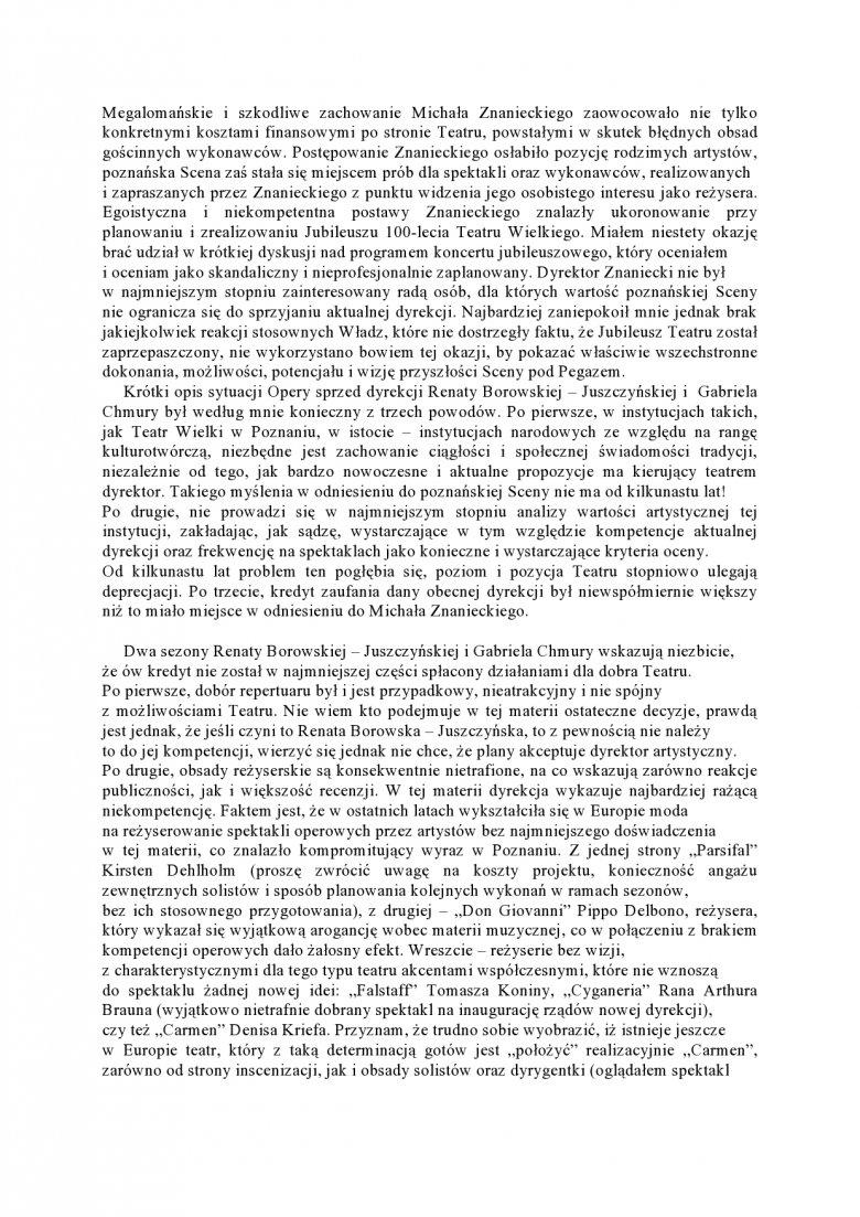 List Macieja Jabłońskiego adresowany do Władz Województwa Wielkopolskiego