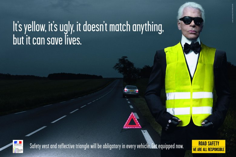 We Francji to sam guru mody Karl Lagerfeld przekonywał do noszenia odblasków