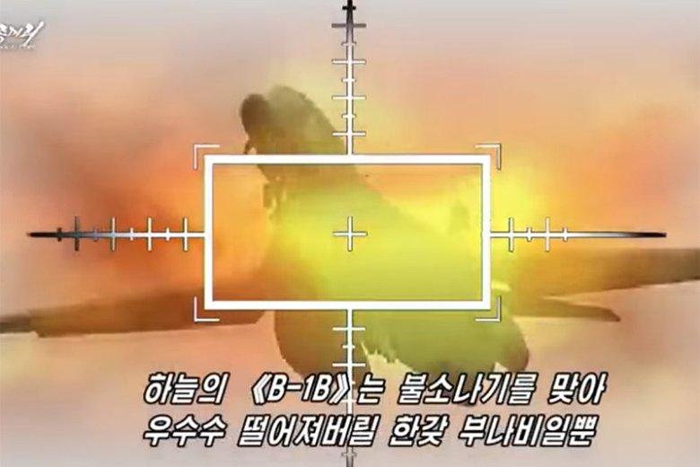 """Reżim Korei Północnej """"wizualizuje"""" sobie spełnienie marzeń o ataku na wojska Stanów Zjednoczonych."""