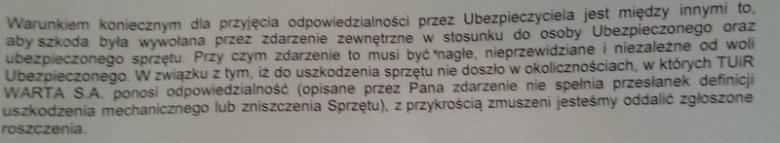 Fragment odpowiedzi z odmową uznania roszczenia za uszkodzony telefon.