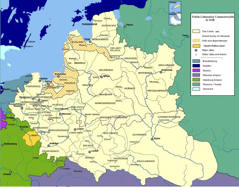 Rzeczpospolita Obojga Narodów w 1648 roku.
