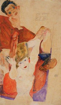 Egon Schiele, Der rote Hostie, 1911