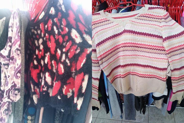 Sweterki stylizowane na vintage w lumpeksie na Puławskiej
