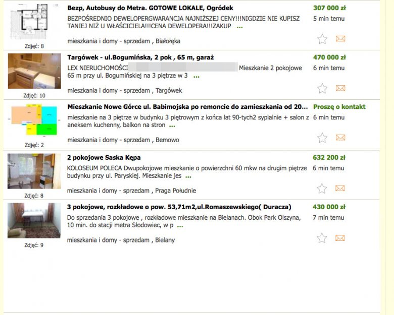 Ogłoszenia z ofertą sprzedaży mieszkania w Warszawie pojawiają się co minutę lub nawet częściej.