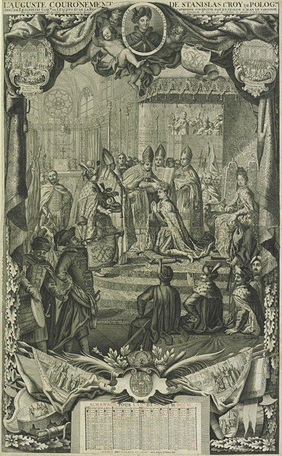 Koronacja Stanisława Leszczyńskiego w 1705 roku.
