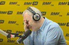 Robert Mazurek to prowadzący porannąpolityczną rozmowę w RMF FM. Teraz jego gościem był Grzegorz Schetyna. Zdjęcie z archiwalnego programu.
