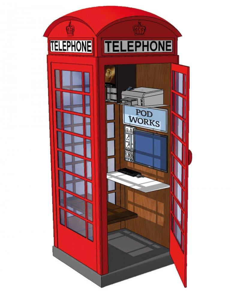 Biuro w budce telefonicznej