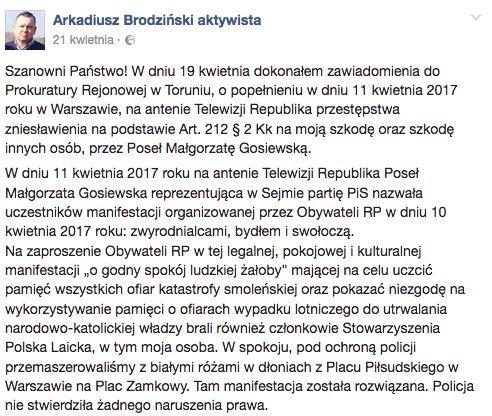 """Arkadiusz Brodziński złożył zawiadomienie do prokuratury ws. słów Małgorzaty Gosiewskiej: """"zwyrodnialcy, bydło, swołocz"""". Tłumaczy, że on i inne osoby padły ofiarą zniesławienia."""