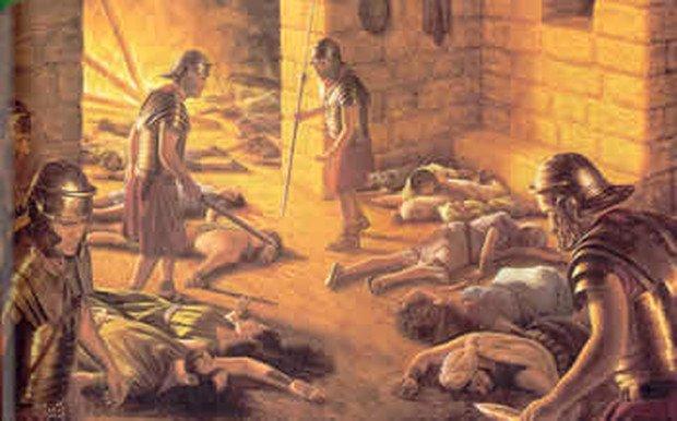Obrońcy Masady po popełnieniu zbiorowego samobójstwa.