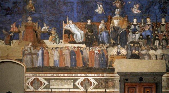 Ambrogio Lorenzetti, Alegoria dobrych rządów, 1338-39, Siena, Palazzo Publicco