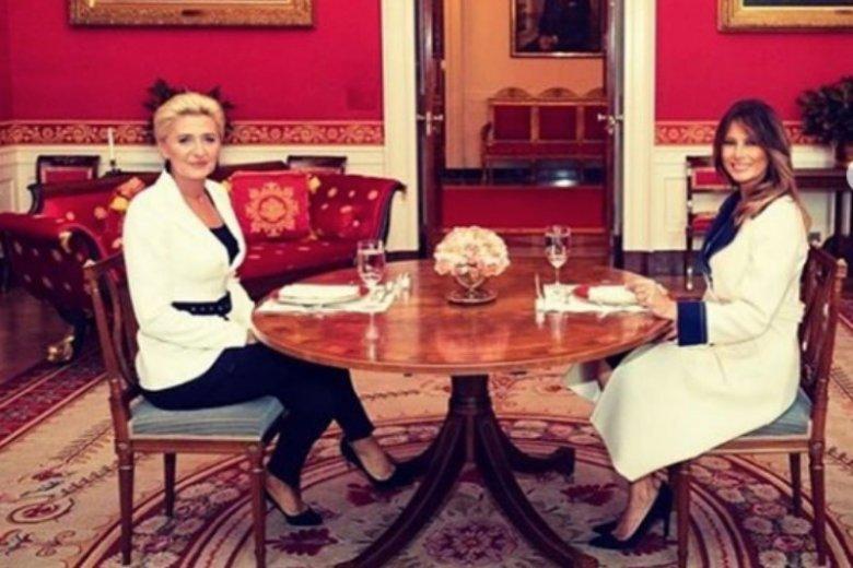 Agata duda i Melania Trump podczas rozmowy w Białym Domu
