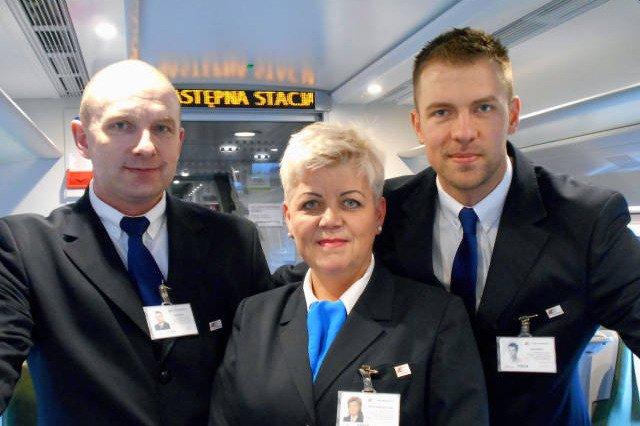 Drużyna konduktorska pociągu Express Intercity Premium: od lewej – Robert Trepka, Renata Świderska i Grzegorz Malczewski.