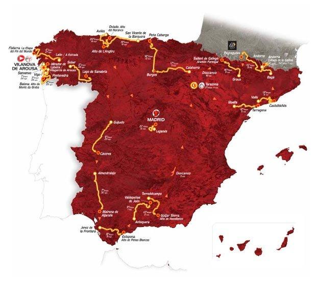 Trasa Vuelta a Espana 2013; 24 sierpnia - 15 września