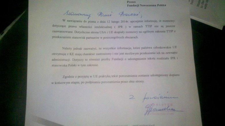 Odpowiedź Ministerstwa Gospodarki na pismo Jarosława Lipszyca w sprawie TTIP