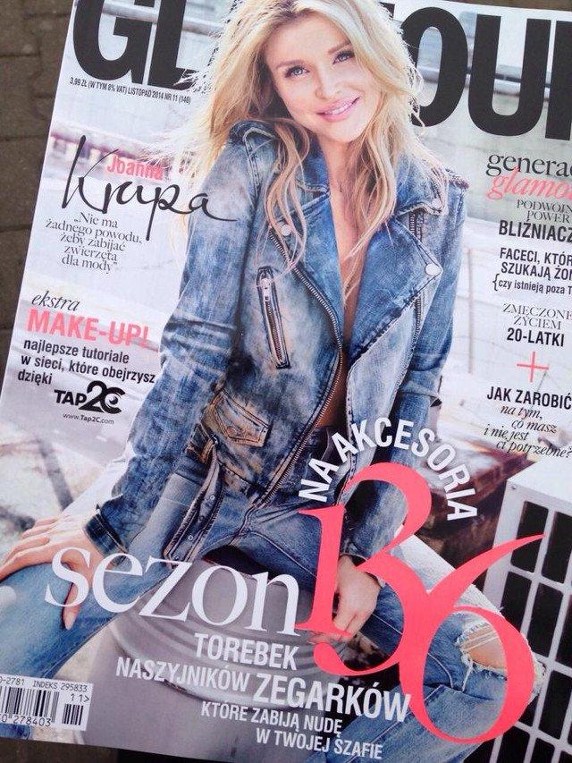 Modelka na okładce magazynu Glamour.