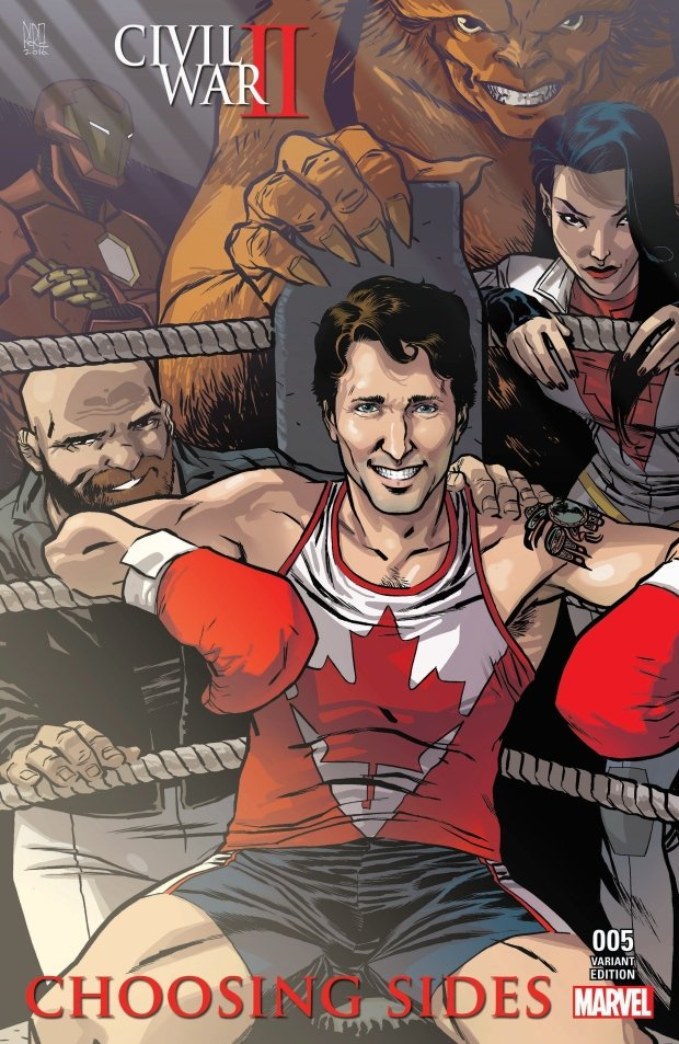 Okładka komiksu Civil War: Choosing Sides #5. W narożniku siedzi Justin Trudeau, premier Kanady. Sekundują mu bohaterowie Marvela: Puck, Sasquatch i Aurora