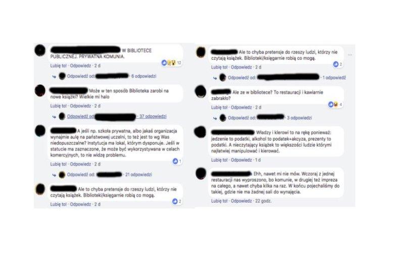Takie komentarze pojawiły sie pod postem biblioteki udostępnionym na jednej z facebookowych grup.