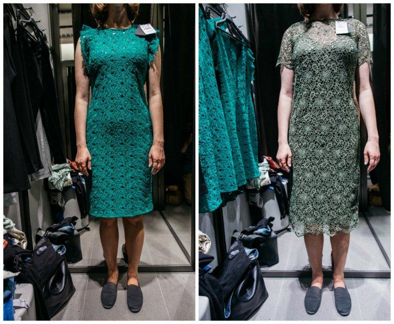 O jednolity rozmiar ciężko nawet w obrębie jednego sklepu - po lewej sukienka w rozmiarze 34, po prawej w rozmiarze 40 (ZARA)