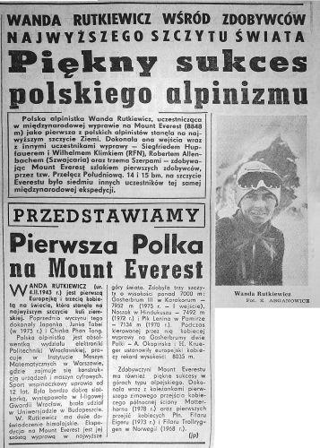Światowa prasa o sukcesie wyprawy polskich himalaistek na Gaszerbrumy, kierowanej przez Wandę Rutkiewicz.