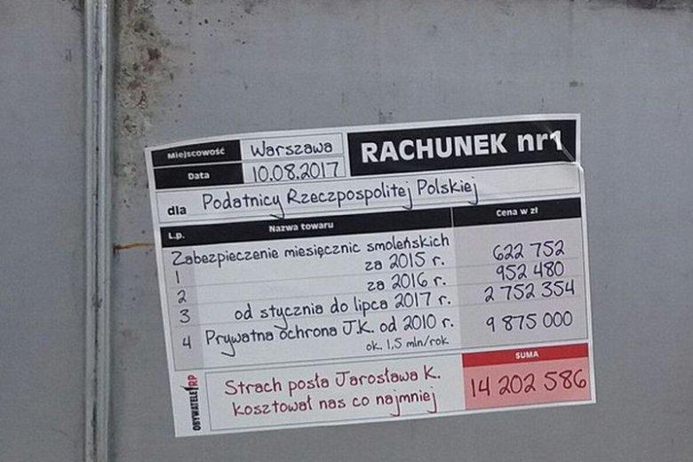 """Wystawiono """"rachunek za strach Jarosława Kaczyńskiego"""""""