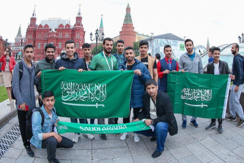 Mecz Rosja-Arabia Saudyjska inauguruje mundial 2018. Do Moskwy przybyło wielu saudyjskich kibiców.