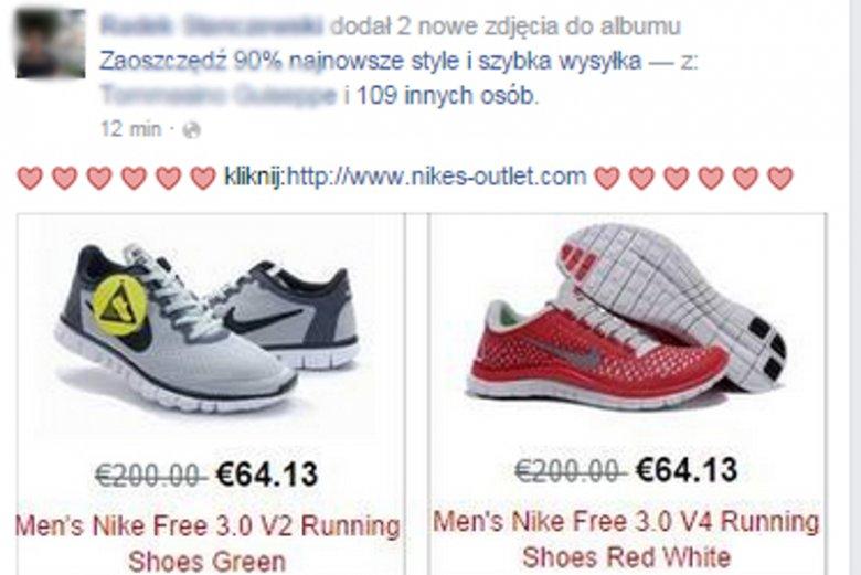 Raybany za 15 dolarów i buty Nike za 64 dolary - nowy wirus krąży na Facebooku