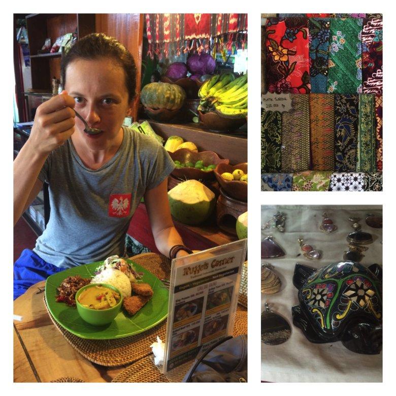 3w1: restauracja z bardzo smacznymi daniami, odzieżowy z chustami farbowanymi techniką batiku i jubiler; Lombok, 2016.