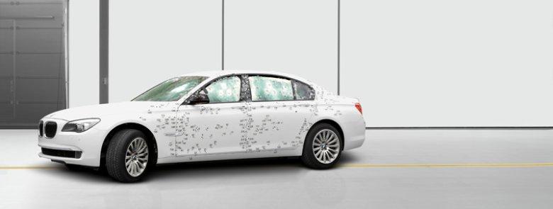 Wygląd BMW 7 High Protection po badaniach odporności na przestrzelenie wg normy VR7