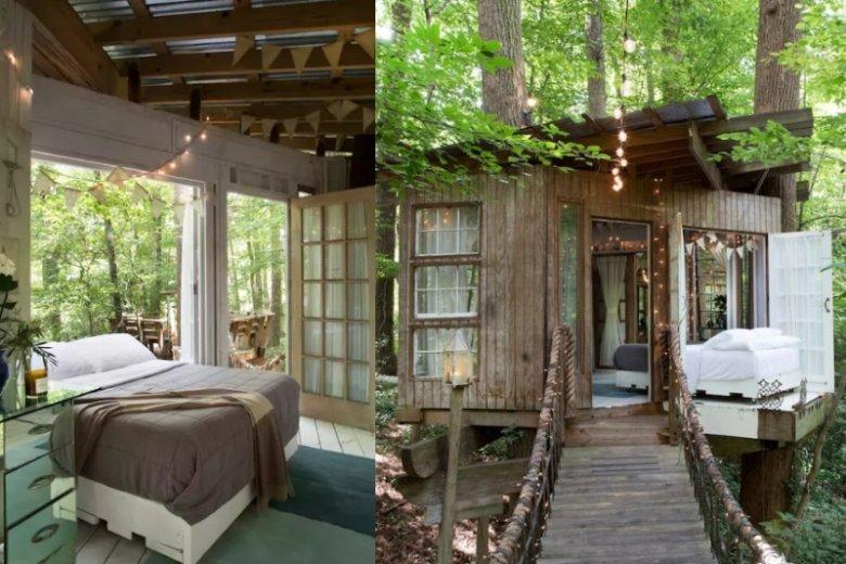 Domek na drzewie w Atlancie to idealne miejsce na romantyczny wypad we dwoje